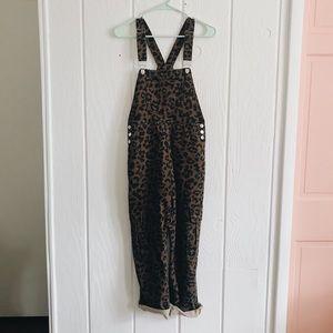 Denim - Leopard Overalls